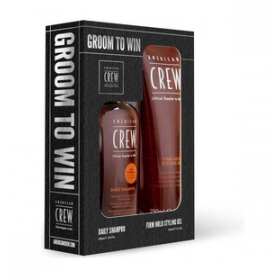 AMERICAN CREW Набор GROOM TO WIN Шампунь Daily 250 мл + Гель для укладки волос сильной фиксации 250г